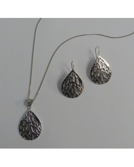 Earrings and Necklace with Silver Pendant