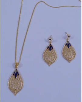 Golden Silver Earrings and Necklace with Pendant