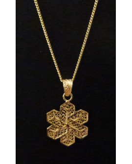Golden Silver Necklace with Snowflake Pendant