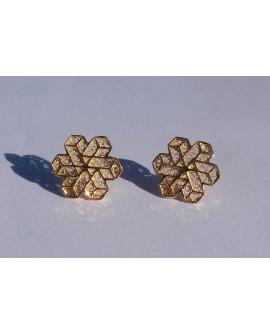 Golden Silver Snowflake Earrings