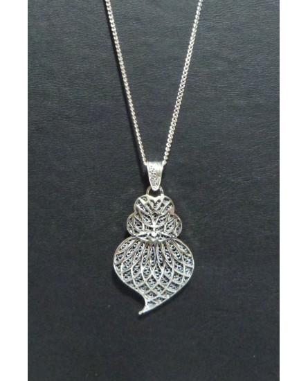 Silver Heart Pendant with Necklace