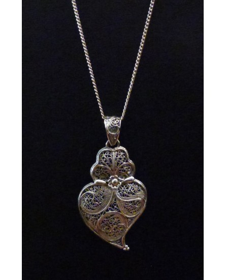Silver Necklace and Pendant, Traditional Viana Heart