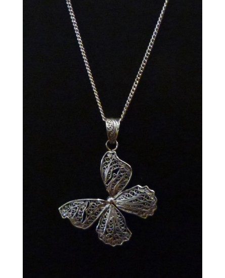 Silver Butterfly Necklace and Pendant