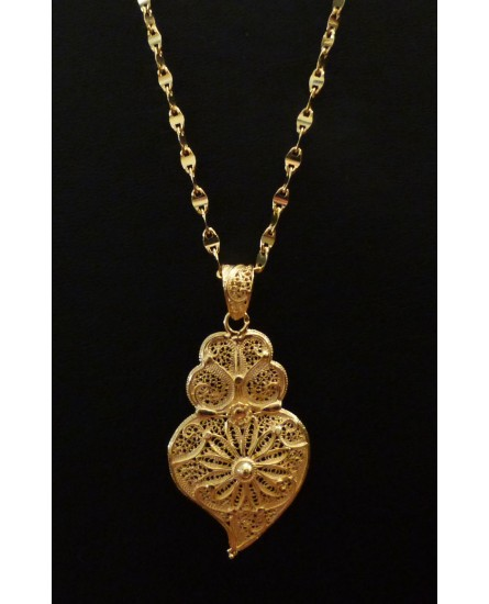 Golden Silver Necklace and Heart Pendant