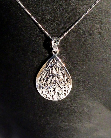 Silver Tear Pendant with Necklace