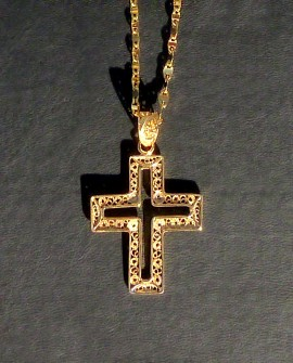 Golden Silver Necklace and Cross Pendant