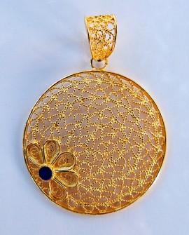 Golden Silver Flower Pendant