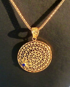 Golden Silver Necklace with Flower Pendant