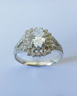 White Gold 19.2K Ring with Zirconia Stones